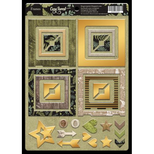 Рамки из чипборда с фольгированием (золото) для скрапбукинга 30шт от Scrapmir Crozy Forest