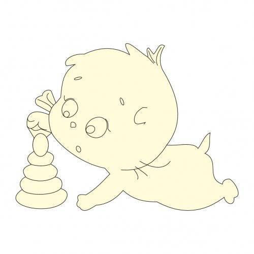 "Чипборд ""Котёнок Басик с пирамидкой"" Chip4u, 4.4х3.3 см"