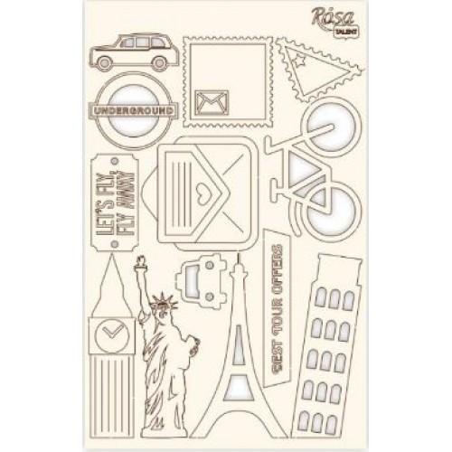 "Чипборд для скрапбукинга ""Make your journey"" 3, белый картон, 12,8х20см, ROSA TALENT"