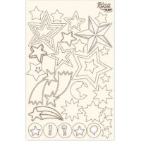"""Чипборд для скрапбукинга Классический """"Звезды"""", белый картон, 12,6х20см, ROSA TALENT"""