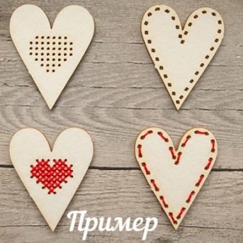 """Чипборд """" Сердечки для вышивки"""" №2, 30 x 40 мм. Scrapbox"""