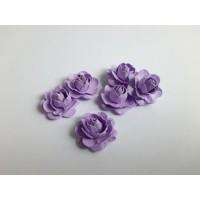 Цветы ручной работы Розы сиреневые 2,5 см, 6 шт