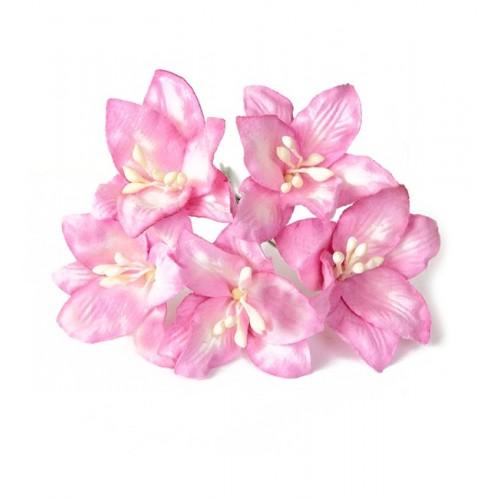 Цветок Лилия розовая 5 см фото