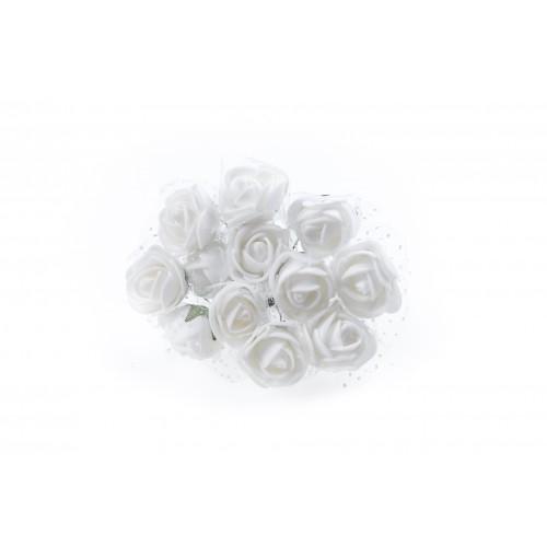 Роза латексная с фатином белая 2,2 см,  12 штук