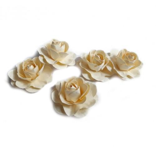 Цветы ручной работы Розы молочные 3,5 см фото