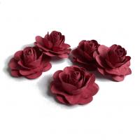 Цветы ручной работы Розы бордовые 3,5 см, 5 шт