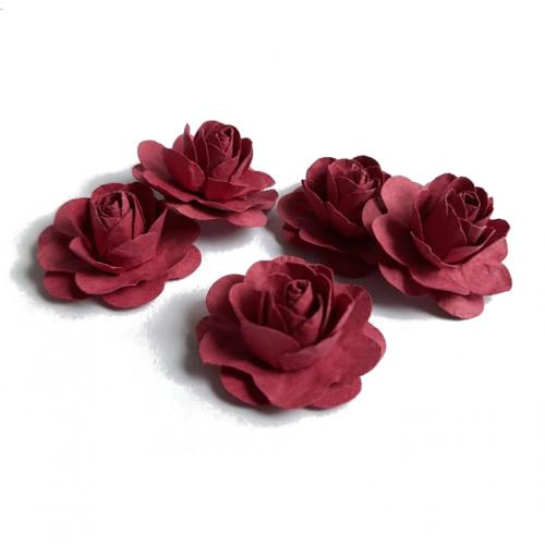 Цветы ручной работы Розы бордовые 3,5 см фото