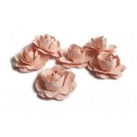 Цветы ручной работы Розы пудровые 2,5 см, 6 шт