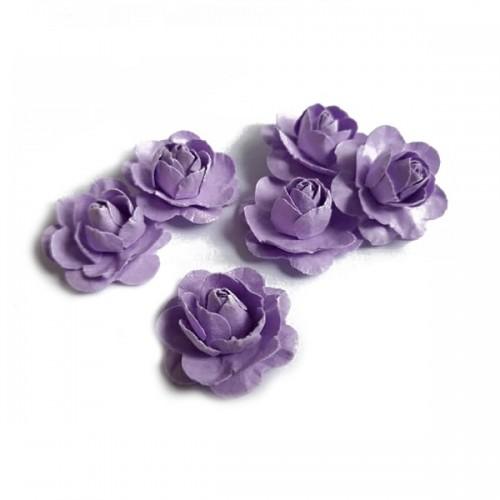 Цветы ручной работы Розы сиреневые 2,5 см фото
