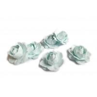 Цветы ручной работы Розы светло-голубые 2,5 см, 6 шт