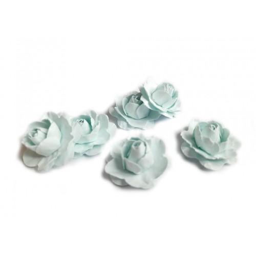 Цветы ручной работы Розы светло-голубые 2,5 см фото