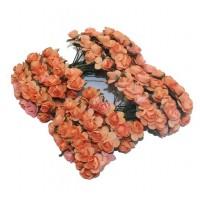 Розы бумажные Оранжевые, 12 шт