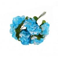 Цветы бумажные Бело-голубые, 6 шт