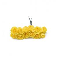 Розы бумажные Желтые 1,5 см, 12 шт