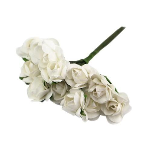 Розы бумажные Белые, 12 шт