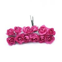 Розы бумажные Малиновые 2 см, 12 шт