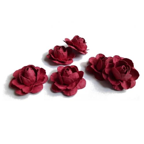 Цветы ручной работы Розы бордовые 2,5 см, 6 шт