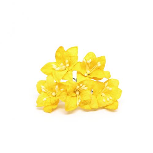 Цветок Лилия желтая 5 см фото