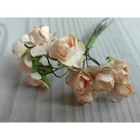 Розы бумажные Персиковые, 12 шт
