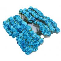 Розы бумажные Голубые, 12 шт