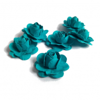 Цветы ручной работы Розы бирюзовые 2,5 см, 6 шт