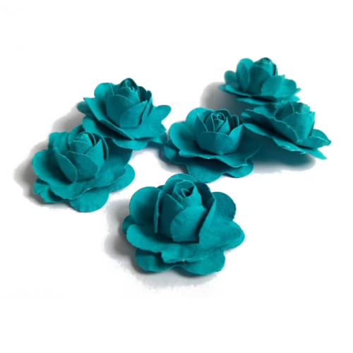 Цветы ручной работы Розы бирюзовые 2,5 см фото
