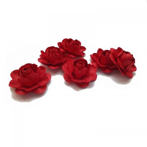 Цветы ручной работы Розы красные 2,5 см, 6 шт