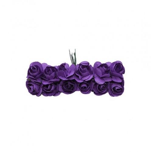 Розы бумажные Фиолетовые 1,5 см, 12 шт