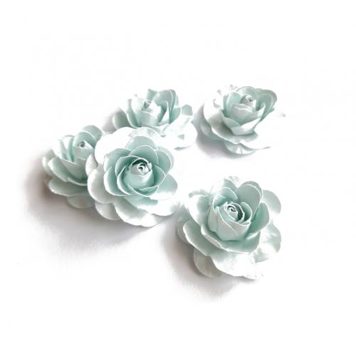 Цветы ручной работы Розы светло-голубые 3,5 см, 5 шт