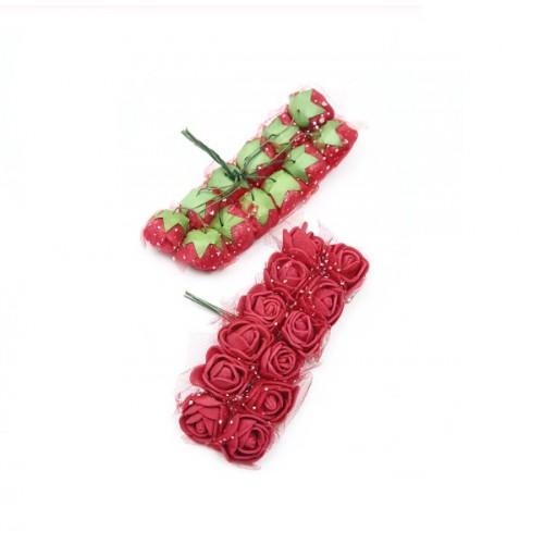 Роза латексная с фатином бордовая 2,2 см,  12 штук