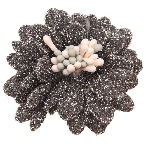Цветок тканевый с блестками, тычинками серый