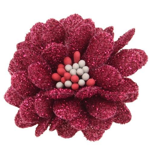 Цветок тканевый с блестками, тычинками малиновый