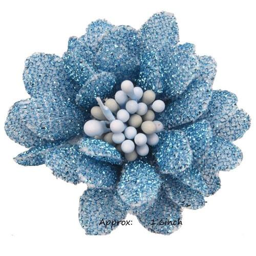 Цветок тканевый с блестками, тычинками голубой
