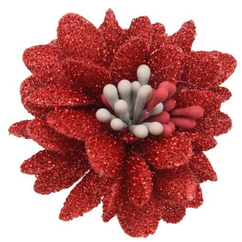 Цветок тканевый с блестками, тычинками красный