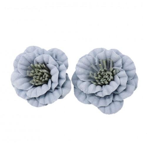 Цветок из замши голубой