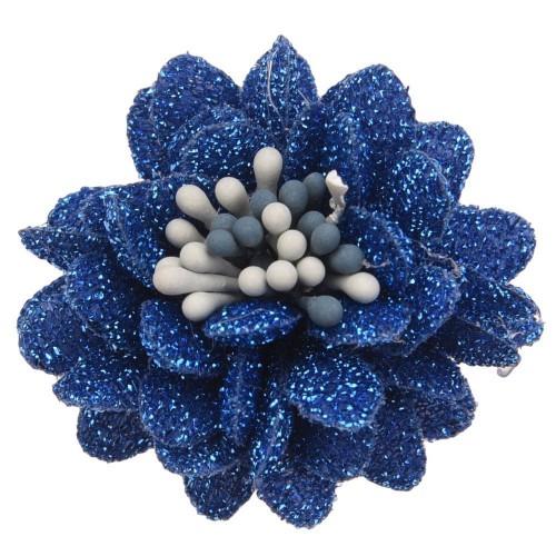 Цветок тканевый с блестками, тычинками синий