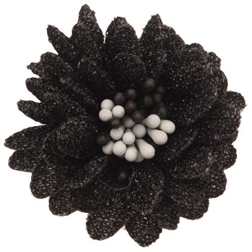 Цветок тканевый с блестками, тычинками черный