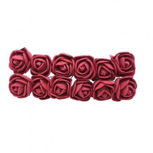 Роза с фоамирана бордовая 2,2 см,  12 штук