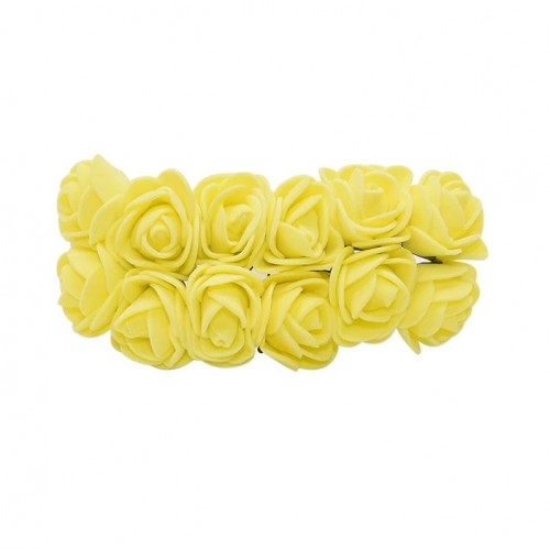 Роза с фоамирана желтая 2,2 см,  12 штук
