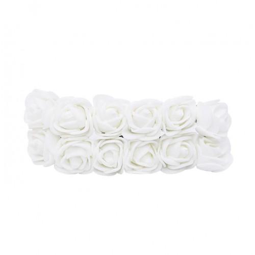 Роза с фоамирана белая 2,2 см,  12 штук