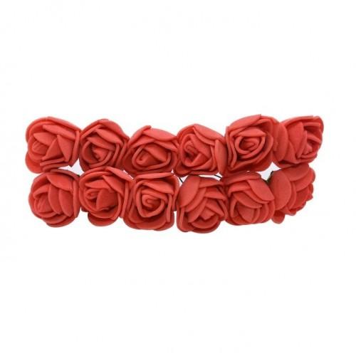 Роза с фоамирана красная 2,2 см,  12 штук