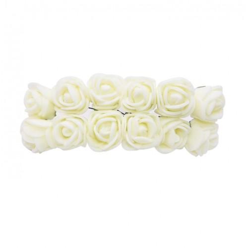 Роза с фоамирана бежевая 2,2 см,  12 штук