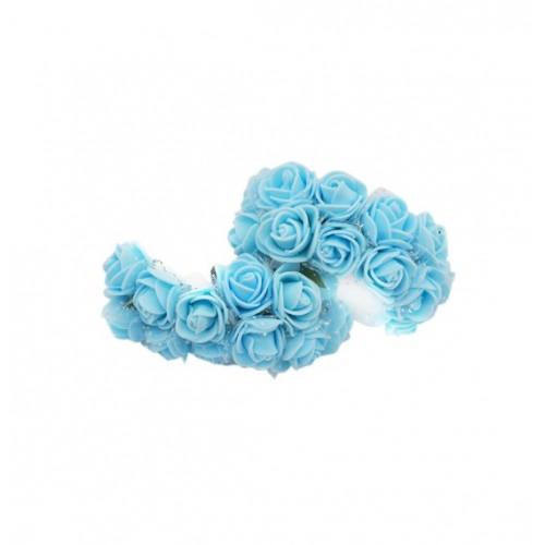 Роза латексная с фатином голубая 2,2 см,  12 штук
