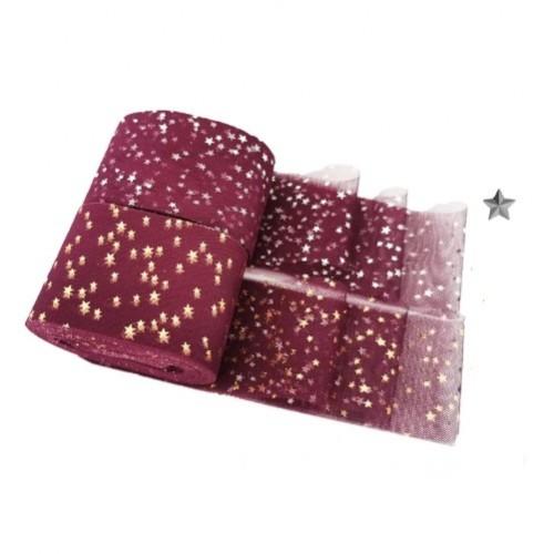 Фатиновая лента с серебряными звездами Бордовая, фото