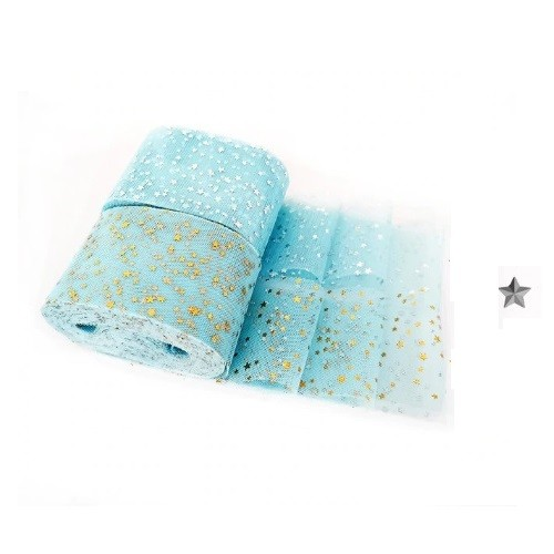 Фатиновая лента с серебряными звездами Голубая, фото