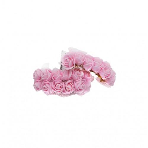 Роза латексная с фатином розовая 2,2 см,  12 штук