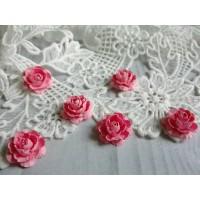 Цветы ручной работы Розы розовые 2,5 см, 6 шт