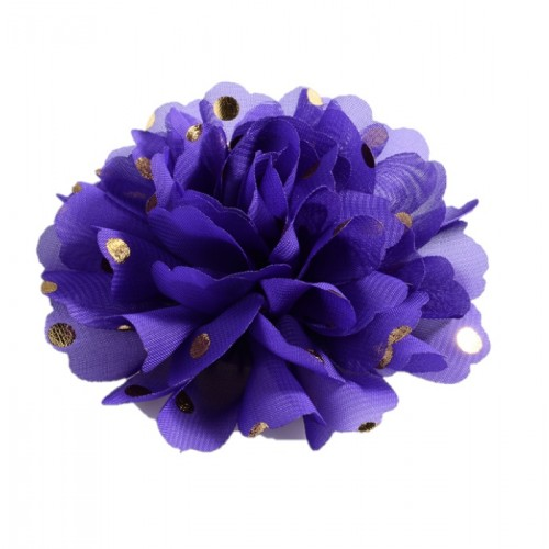 Шифоновый цветок Темно-синий в золотой горох