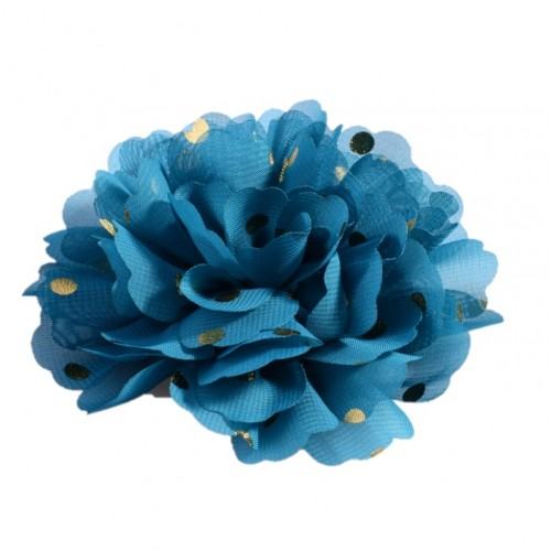 Шифоновый цветок Синий в золотой горох