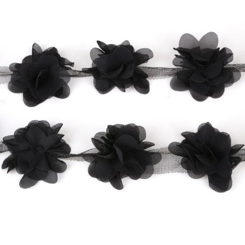 Шифоновый цветок Черный, 1 шт